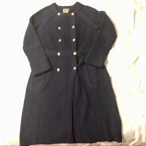 Tory Burch sweater dress with gold buttons